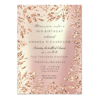 Pink Rose Gold Glitter Leafs Floral Frame Pearly Card