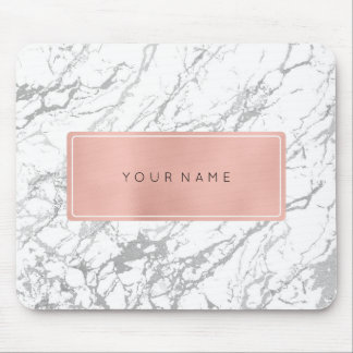 Pink Rose Gold Metallic Minimal White Marble Gray Mouse Pad