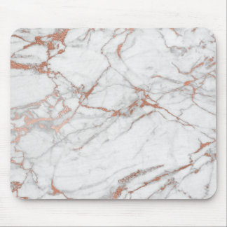 Pink Rose Gold Powder Gold White Grey Marble Mouse Pad
