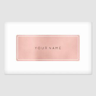 Pink Rose Gold Powder Metallic Rectangular Logo Rectangular Sticker