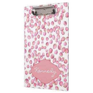 Pink rose petals clipboard