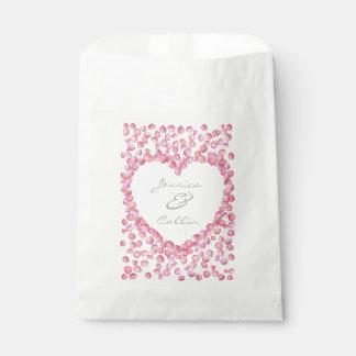 Pink rose petals heart favor bags favour bags