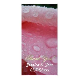Pink Rose Petals wedding Card