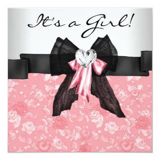 Pink Rose Pink Black Baby Girl Shower Card