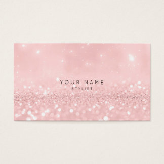 Pink Rose Powder Glitter Sparkly Stylist Vip Business Card