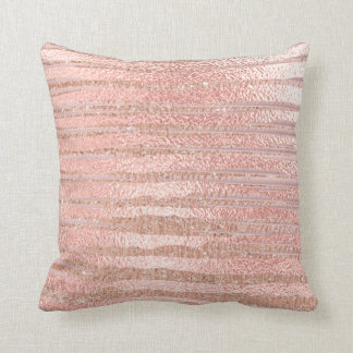 Pink Rose Powder Gold Glitter MetalliStripes Lines Cushion