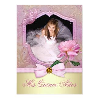 Pink Rose Quinceanera 14 Cm X 19 Cm Invitation Card