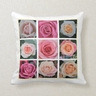 Pink rose square collage pillow