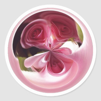 Pink Rose Swirl Round Sticker