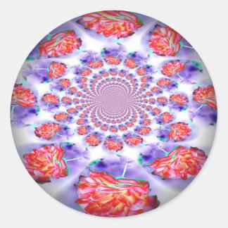 Pink Rose Swirling Round Sticker