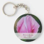 Pink Rosebud Bride & Groom Keychain