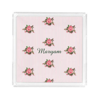 Pink Roses and Stripes Custom Acrylic Tray