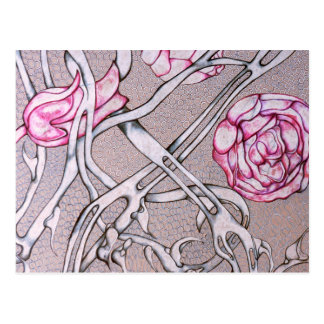 Pink Roses and Thorns. Postcard