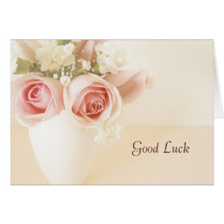 Pink roses and white carnations good luck card