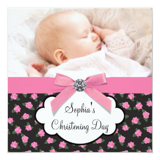 Pink Roses Baby Girl Photo Christening 13 Cm X 13 Cm Square Invitation Card