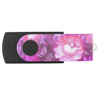 Pink Roses Flowers Vintage Art USB Flash Drive
