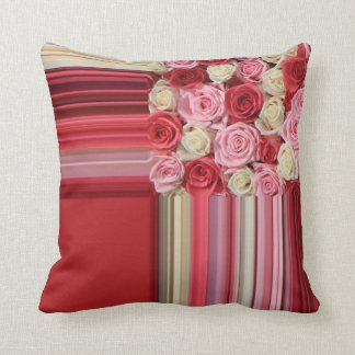 Pink roses graphic design pillow