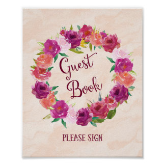 Pink Roses Guest Book Wedding Poster Print
