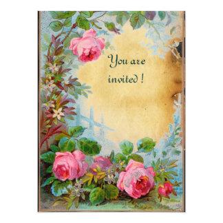 PINK ROSES & JASMINES parchment 14 Cm X 19 Cm Invitation Card