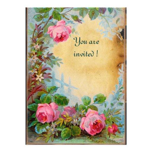 PINK ROSES & JASMINES parchment Custom Invitations