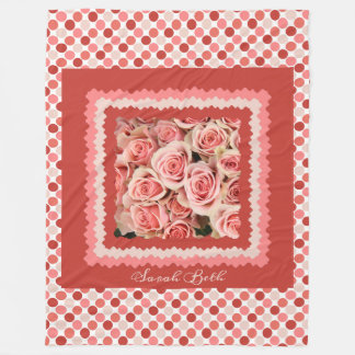 Pink Roses, on pinks & polka dots; add name Fleece Blanket