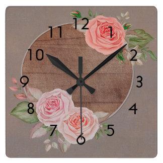 Pink Roses on Rustic Brown Wood Wall Clock