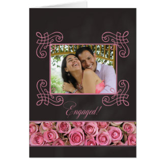 pink roses photo engagement announcement