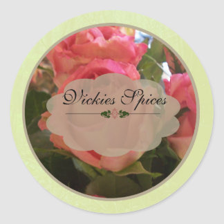 Pink Roses Spice Jar Labels B Round Sticker