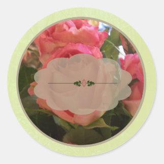 Pink Roses Spice Jar Labels Round Sticker