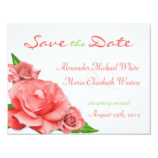 Pink Roses Summer Watercolor Save the Date Card