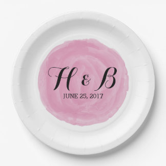 Pink Round Watercolor Wedding Paper Plates 9 Inch Paper Plate
