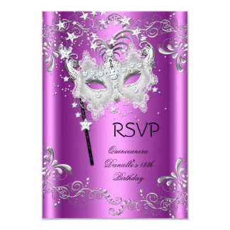 Pink RSVP Quinceanera 15th Party Masquerade Card