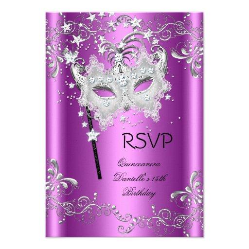 Pink RSVP Quinceanera 15th Party Masquerade Invites