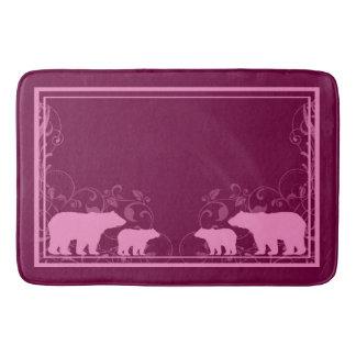 Pink rustic swirl bear memory foam bath mat