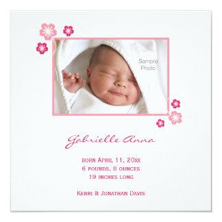 Pink Sakura Baby Girl Birth Announcement