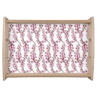Pink sakura watercolor pattern serving trays