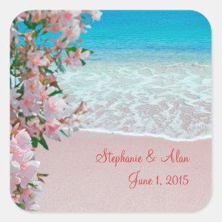 Pink Sand Beach Wedding Stickers