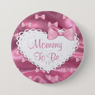 Pink Satin Lace & Bows  Baby Shower button