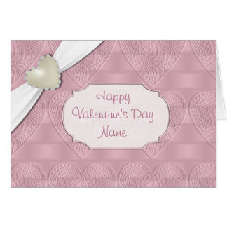 Pink Satin Valentine Heart Greeting Card