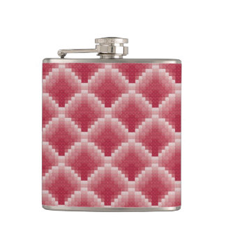 Pink Scaled Pattern Hip Flask