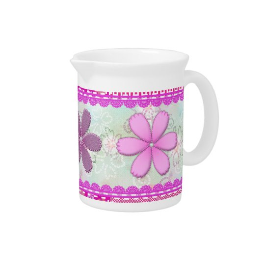 Pink scalloped border with flower blossoms pitcher