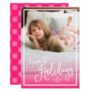 Pink Script Happiest Holidays Holiday Photo Card
