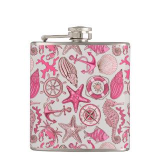 Pink Sea Pattern Hip Flask