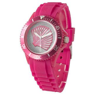 Pink Seashell Silver Faux Glitter Watch