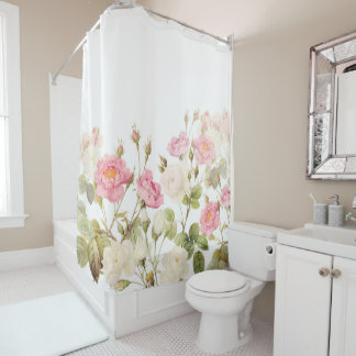 Pink Sepia Vintage Roses Meadow Illustration Shower Curtain