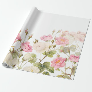 Pink Sepia Vintage Roses Meadow Illustration Wrapping Paper