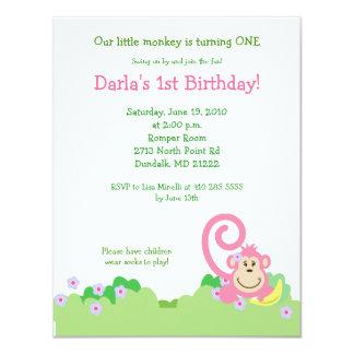 Pink Silly Monkey Jungle 4x5 Girl Birthday 11 Cm X 14 Cm Invitation Card