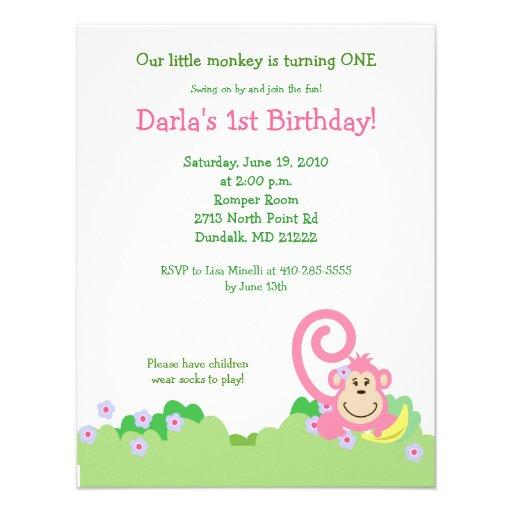 Pink Silly Monkey Jungle 4x5 Girl Birthday Custom Invitations