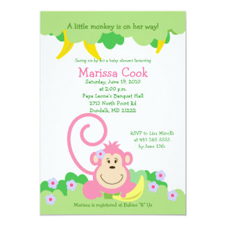 Pink Silly Monkey Jungle Girl Baby Shower 5x7 13 Cm X 18 Cm Invitation Card