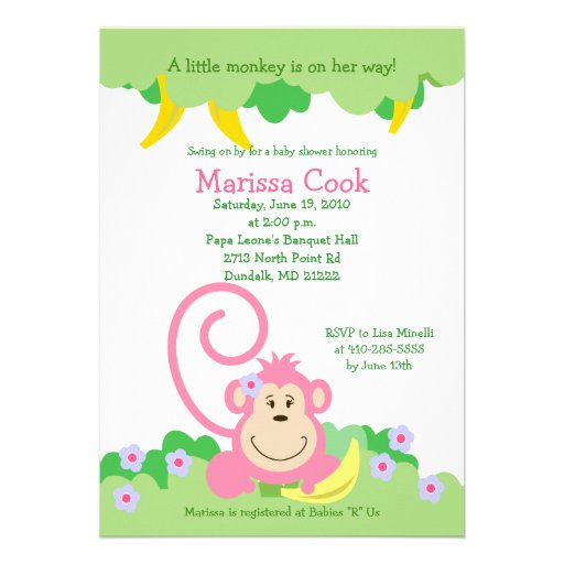 Pink Silly Monkey Jungle Girl Baby Shower 5x7 Personalized Invitation